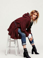 Free People Satellite Image Swing Coat Cape Hooded Crimson M Renaissance Gray