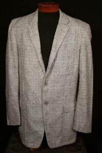 RARE-VINTAGE-1950-039-S-BROWN-WOVEN-WOOL-SALT-amp-PEPPER-SPORT-JACKET-SIZE-40-LONG