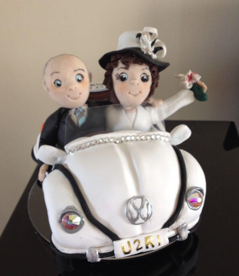 Personnalisé Mariée Et Marié Argile Polymère Cake Topper-VW Beetle