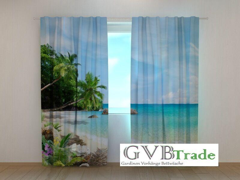Fotogardinen Motiv  Strand  Fotovorhang Vorhang Gardinen 3D Bild, Auf Maß | Qualität und Quantität garantiert  | Produktqualität