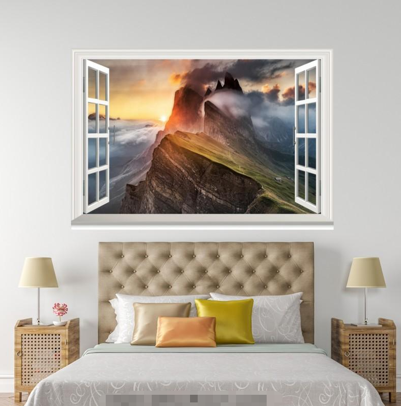 3D Mountain Peak 731 Open Windows WallPaper Murals Wall Print Decal Deco AJ WALL