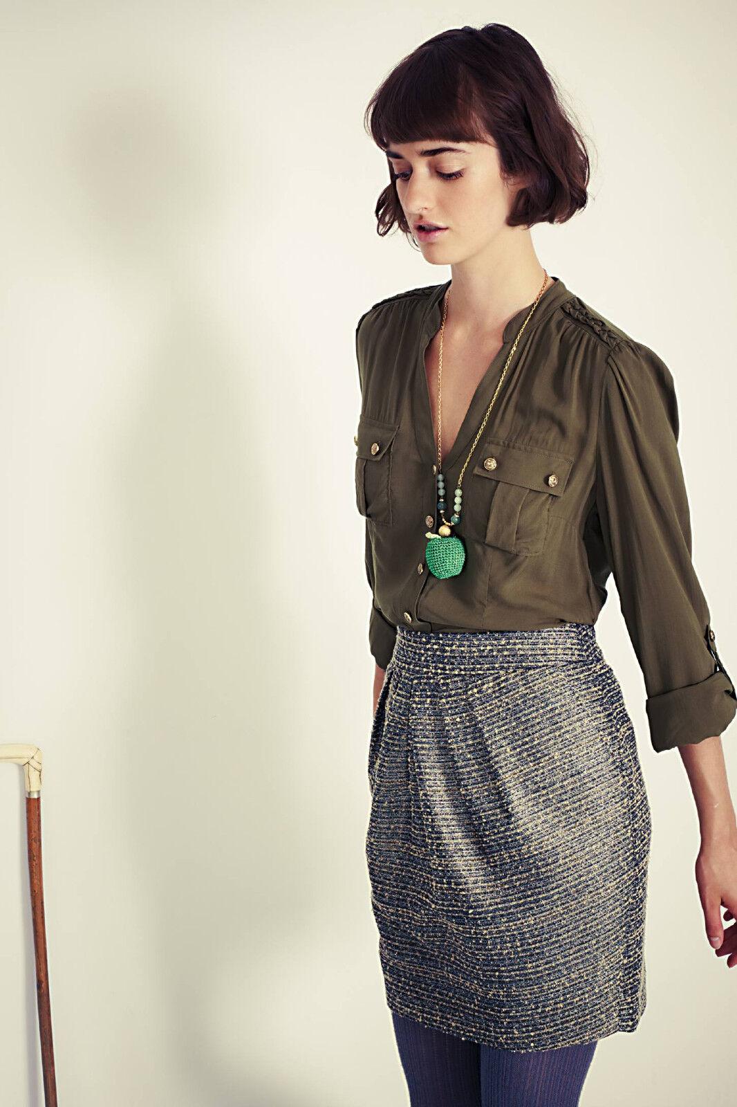 Anthropologie Skirt Avant-Tweed High Waist Pencil Pleated Metallic Tabitha 10 12