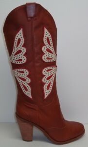 Jessica-Simpson-Size-8-CARALEE-Luggage-Leather-Western-Boots-New-Womens-Shoes
