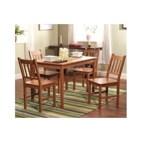 Details about Dining Set Kitchen Table Chairs Furniture Bamboo Room Dinette  Solid 5 Piece Wood