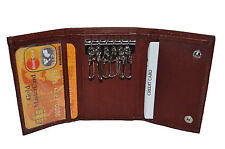Men's Key Holder Accessory 6 Key Chain Wallet Case Burgundy by Leatherboss