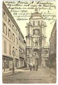 CPA-01-Ain-Bourg-Eglise-et-rue-Notre-Dame-anime