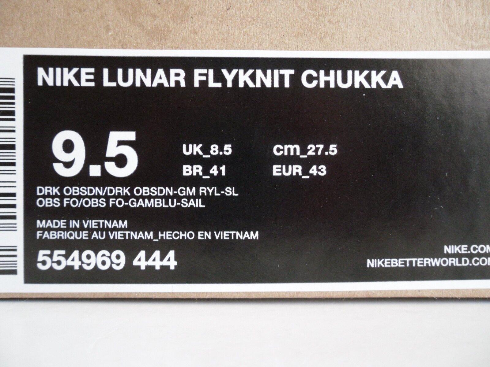 NIKE LUNAR FLYKNIT CHUKKA DARK SZ OBSIDIAN-GAME ROYAL BLU SZ DARK 9.5 [554969-444] 8abdd4