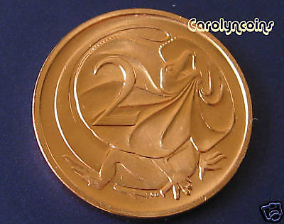 1980 Australia Frill Neck Lizard 2 X 2c Coins Unc Ex Ram Roll  Free Au Post