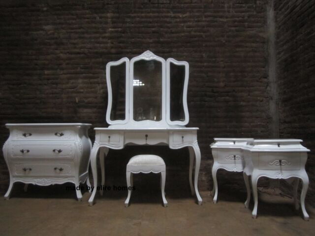 Designer White Six piece Rococo Bedroom french wood set Dressing table, bedside