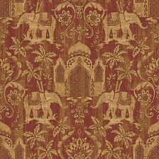 G67361 - Indo Chic Elephant Taj Mahal Beige Red Galerie Wallpaper