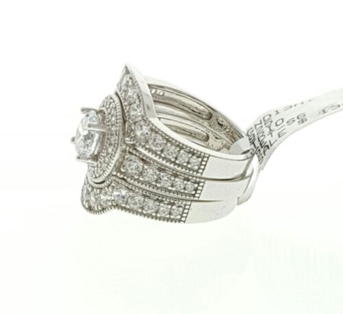 Women Ladies Real Solid 925 Sterling Silver CZ HALO Bridal Wedding Ring Band Set