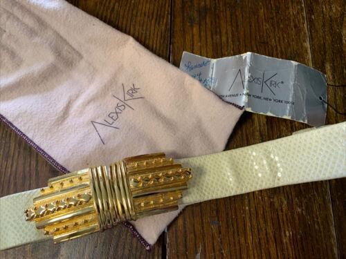 VINTAGE 80/'s REPTILE Terry Stack Designer Snakeskin Silver Enamel Buckle Italian Leather Belt Size XL 14-16