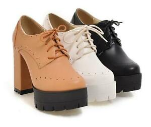 Womens-Round-Toe-Lace-Up-Block-Chunky-Heels-Pumps-Shoes-High-Platform-Ankle-Boot