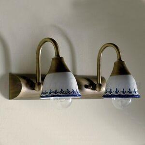 Applique lampada parete classico rustico country ottone ceramica taverna bagno ebay - Applique per specchio bagno classico ...