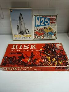 Vintage-Family-Board-Game-Bundle-RISK-The-M25-GAME-New-York-Architecture-Game