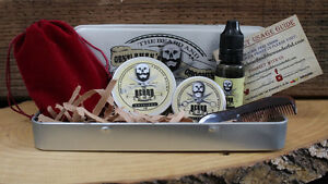 best mens grooming kit 6 piece moustache wax beard balm beard oil comb case ebay. Black Bedroom Furniture Sets. Home Design Ideas