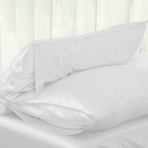"""20*30/"""" Standard Queen Solid 100/% SATIN SILK Bedding Pillowcase Zipper"""
