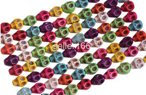 100-Pcs-Mixed-Color-Turquoise-Skull-Head-Howlite-Spacer-Loose-Beads-Charms-8mm