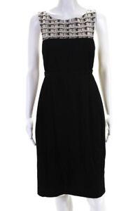 Pollini Womens Sleeveless Scoop Neck A-Line Dress Black White Size 10