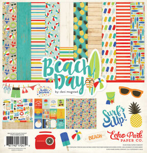 Good Day Sunshine 12x12 Scrapbook Kit Papers Stickers Summer Beach Echo Park