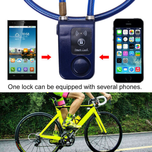 Bluetooth Smart Lock Bicycle Bike Alarm Chain Keyless Door Phone APP Anti Theft
