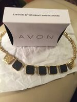 Faux Leather Collar Necklace Black Gold Avon