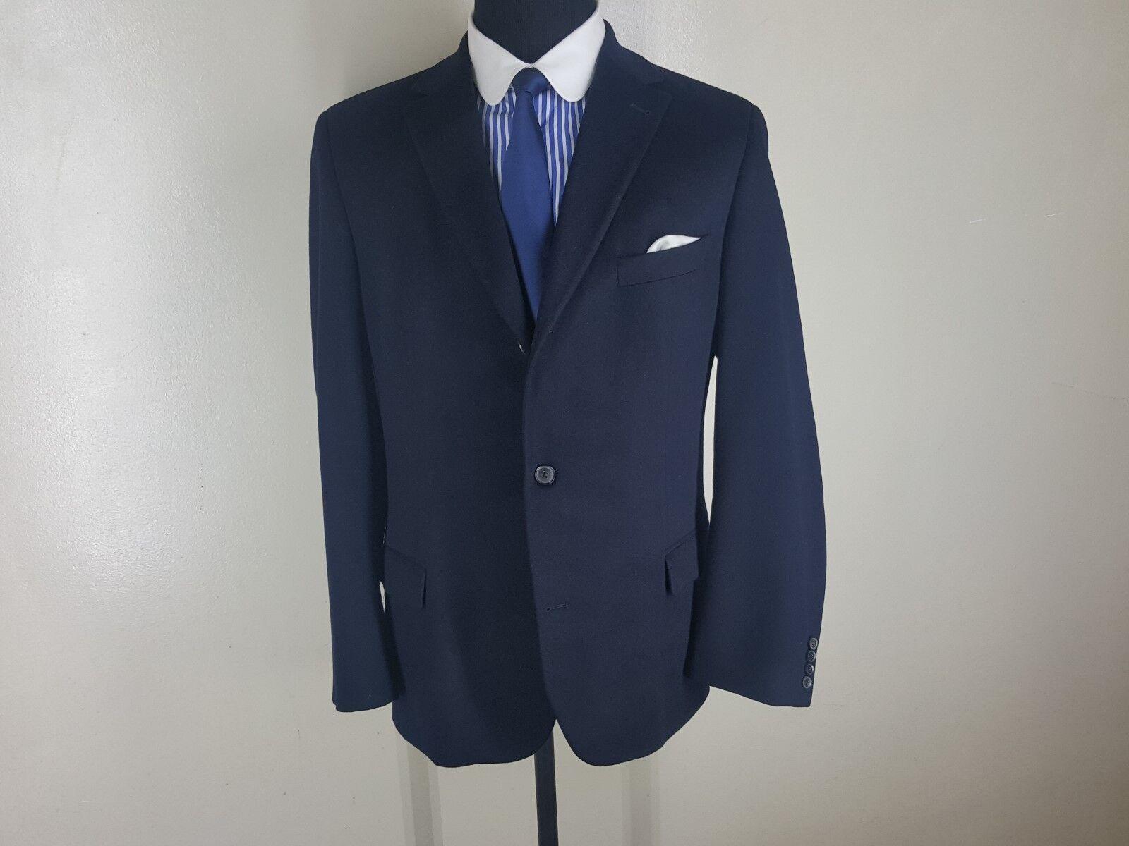 HUGO BOSS Made In U.S.A.  100% Pure Btn Cashmere Blazer 3 Btn Pure Center Vent  44 Long 8f66fb