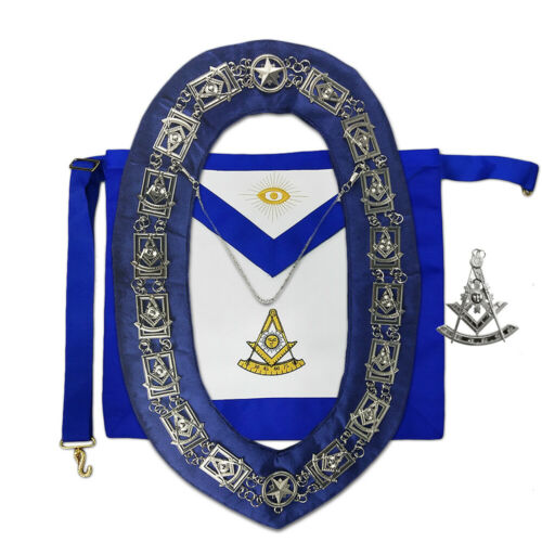 Silver Jewel Masonic Past Master Regalia Set Apron Collar Chain Bundle
