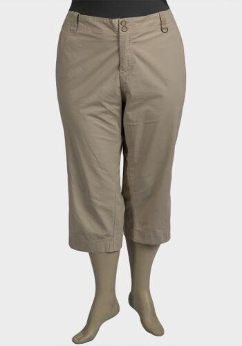 Ladies 3//4 beige Crop cargo Trousers Plus Size 28 30 32 36 Cotton Capri pant 210