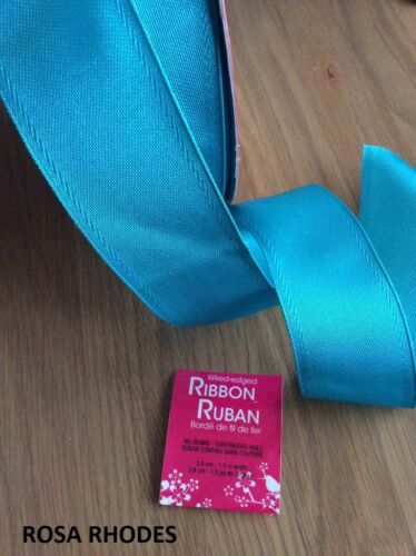 WIRE EDGED RIBBON TURQUOISE 1 METRE
