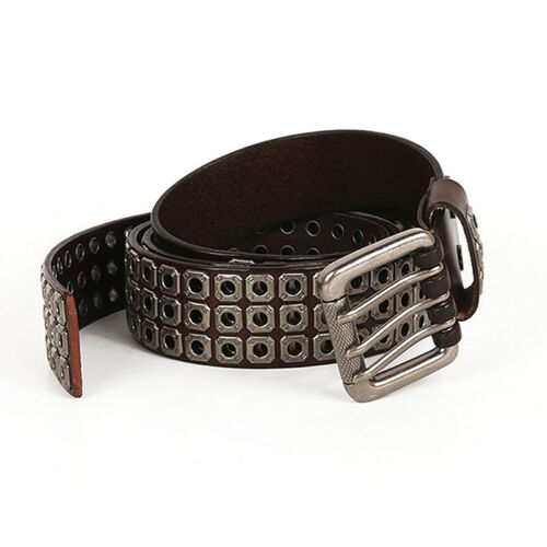 Mens Real Leather Punk Biker Studded Belt Three Hole Pin Buckle Waistband Rock