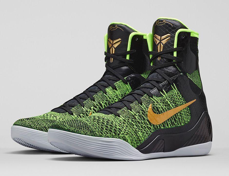 Nike Kobe 9 IX Elite Flyknit Victory Green Gold Size 12. 630847-077 jordan bhm