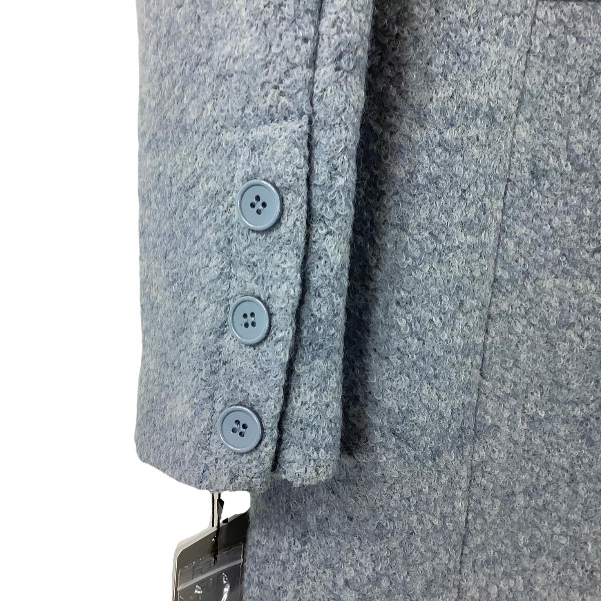 Belle Badgley Mischka Women Vintage-look Curly Wool Coat Faux Fur Collar SZ M