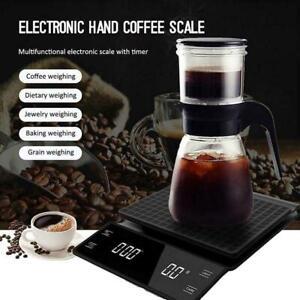 1*Portable Electronic Digital Coffee Scale Timer High Precision Display LED O8J6