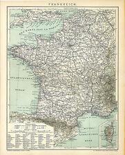 Alte Landkarte 1894: Frankreich. Atlantischer Ozean, Korsika, Schweiz Paris (B14