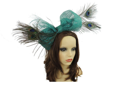 Turquoise Jade Peacock Fascinator for Ascot Derby Proms Weddings Formal AD1