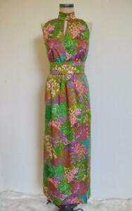 Vintage Dotti Floral Shift Sleeveless Maxi Dress Size M 70s Rayon Dress Made in USA