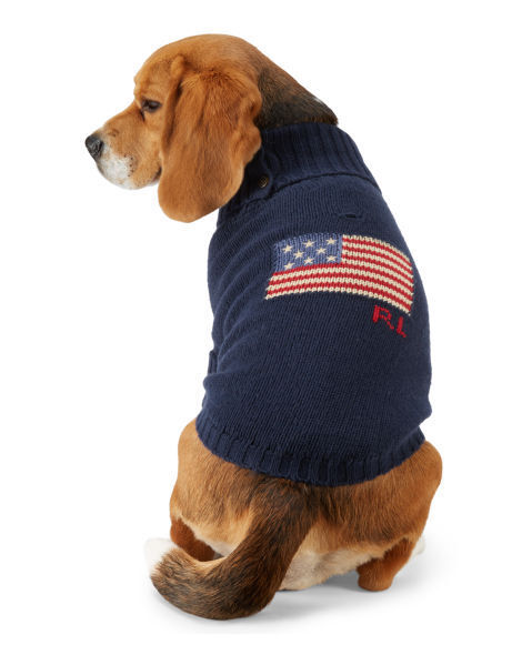 Ralph Lauren Polo American Flag Cotton Dog Sweater Size Sm Fits 7 9