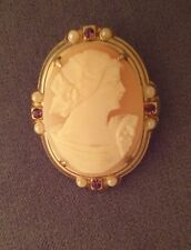 Cameo Pin & Screw Clip Earrings  Pearls Amethyst vintage gold tone FREE SHIP