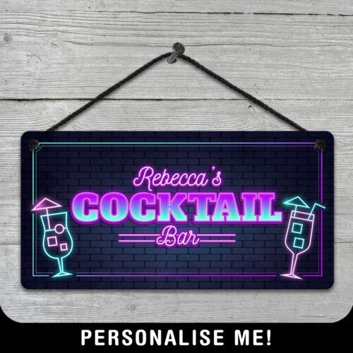 Personnalisé Hanging COCKTAIL BAR SIGN Neon Style Plaque métal pub 80 S Rétro VIP