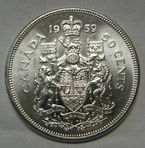 Awesome-Flashy-amp-Frosty-1959-Canada-Silver-Half-Dollar-Grading-Gem-BU-From-Roll