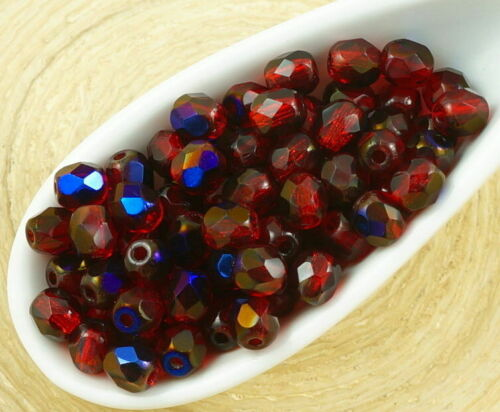 100pcs Crystal Round Faceted Fire Polished Spacer Czech Glass Beads 4mm