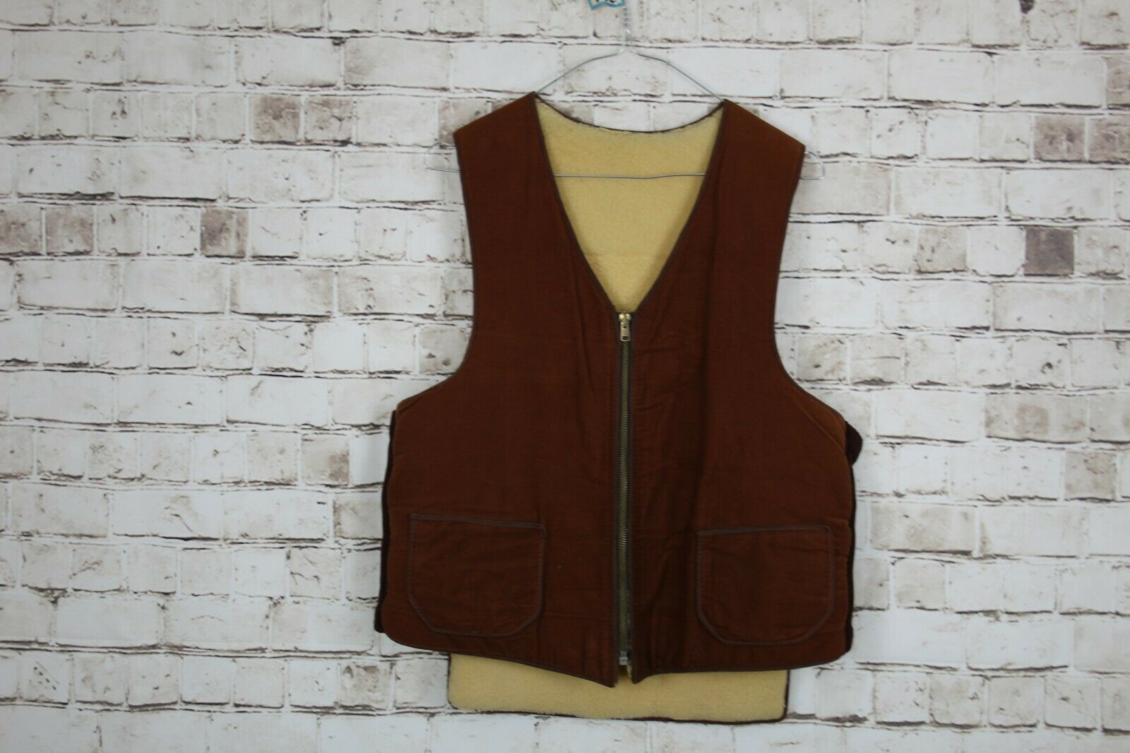 Brown Sherpa Waistcoat Gilet Chest Size 40