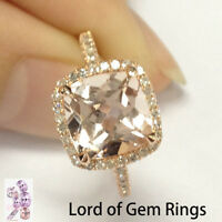 Claw Prongs 8mm Morganite H/SI Diamonds Engagement Ring Promise,14K Rose Gold