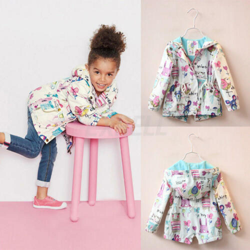 Baby Girls Cartoon Graffiti Hooded Coat Outerwear Toddler Cute Jackets Clothes