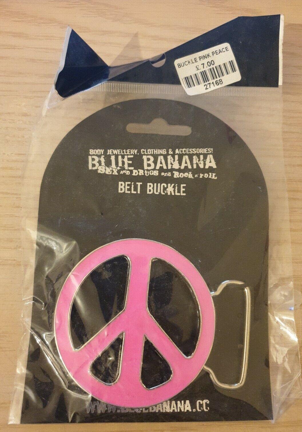 Blue Banana Rosa signo de la paz Hebilla de Cinturón Nuevo Vestido de Disfraz Hippie 60s