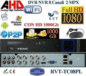 DVR 8 Canali 5 in 1 ibrido hard disk 1000 GB Onvif P2P Professionale manuale ITA