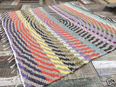 ETHICALLY SOURCED THICK SOFT COTTON SQUARE SPIRAL RUG MULTI COLOUR 170cm x 170cm