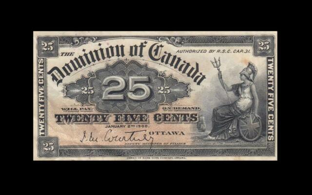 1900 DOMINION OF CANADA 25 CENTS **Courtney** (( EF ))