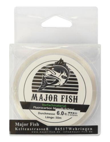 Major Fish Vorfach 50 m Fluorocarbon Coated Schlagschnur 0,14€//M